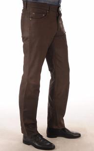 Pantalon Cuir Agneau Nubuck Marron