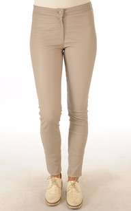 Pantalon Cuir Stretch Crème1