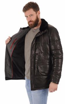Veste matelassée cuir noir