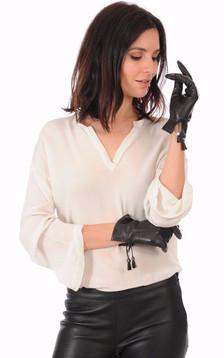 Gants Cuir d'Agneau Noir Femme