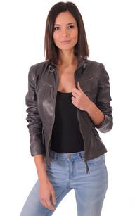 Veste en cuir femme couleur bordeaux