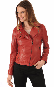 Blouson Cuir Rouge Coupe Perf1