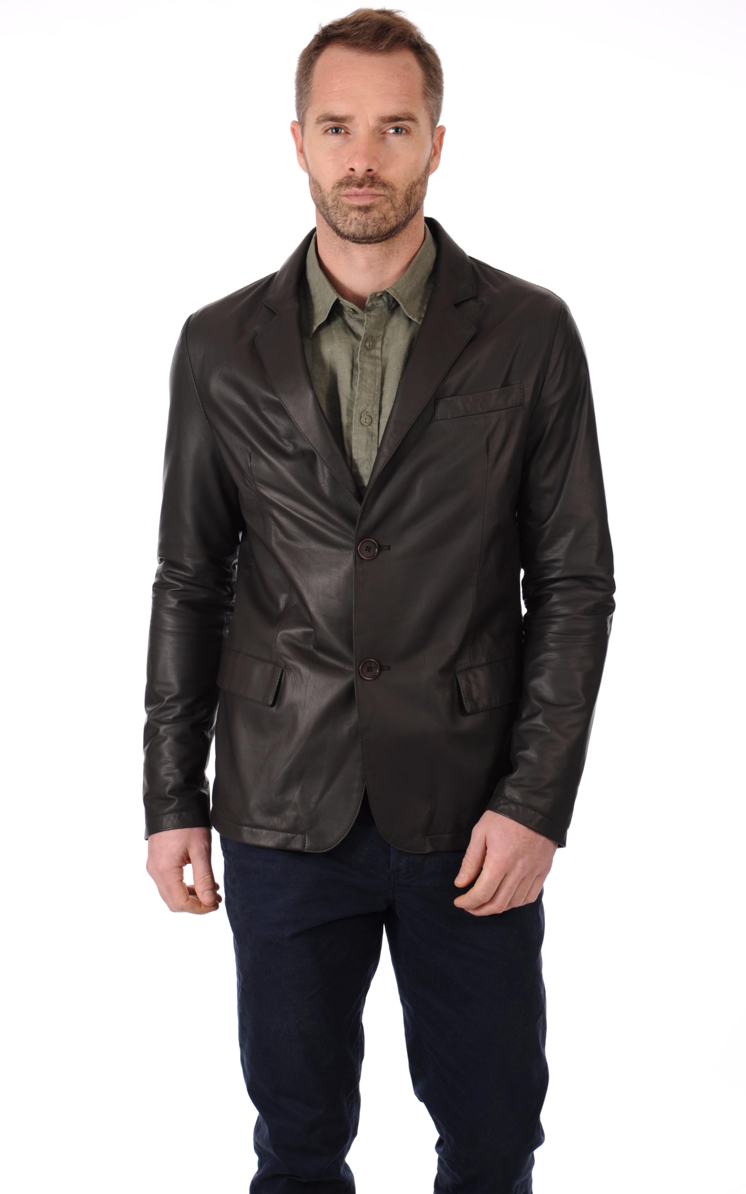 blazer marron cuir homme la canadienne la canadienne veste 3 4 cuir marron. Black Bedroom Furniture Sets. Home Design Ideas
