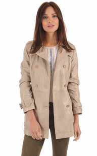 Trench Cuir Gris Clair1