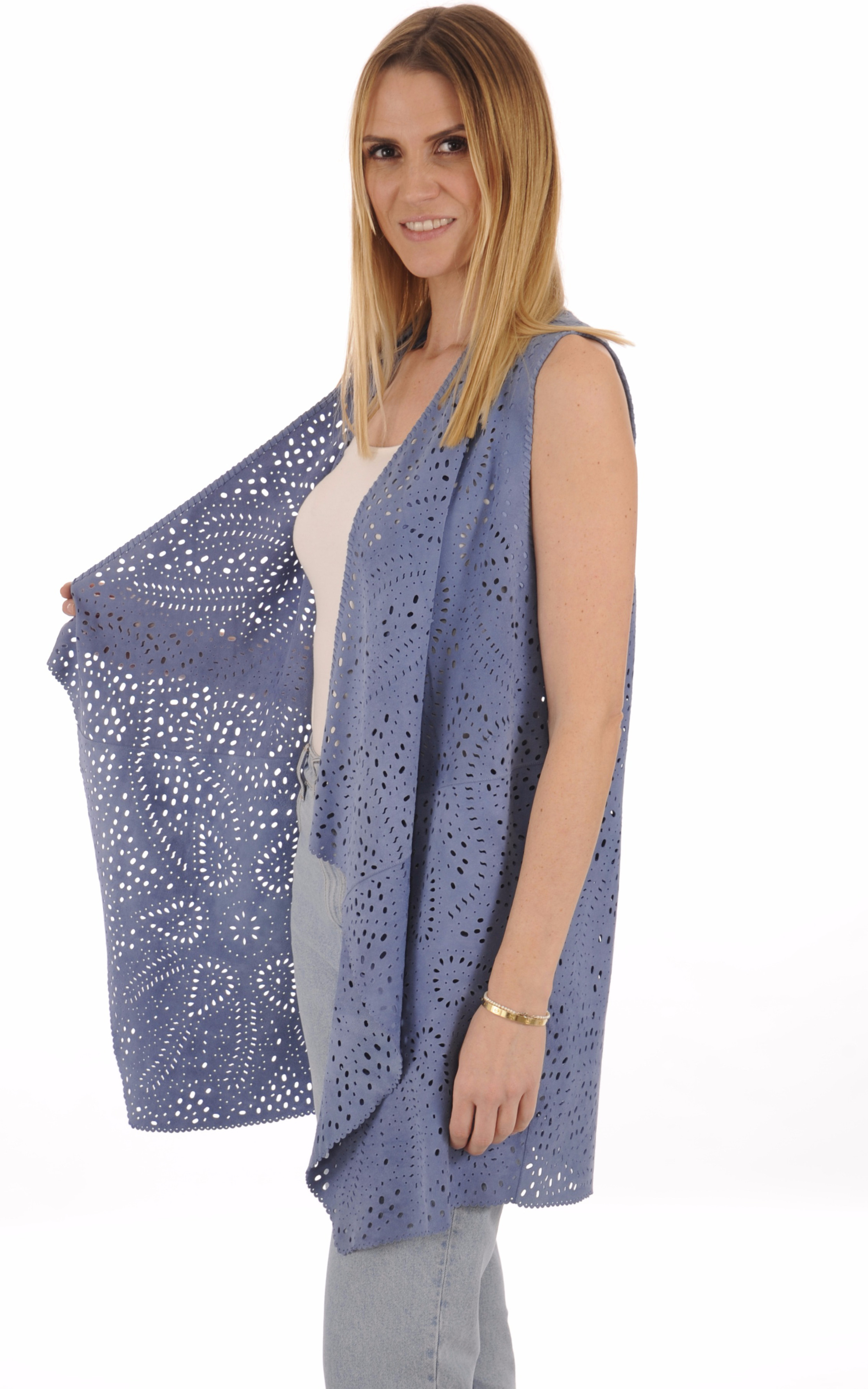Gilet Cuir Velours Bleu Jeans Femme Treasures Design