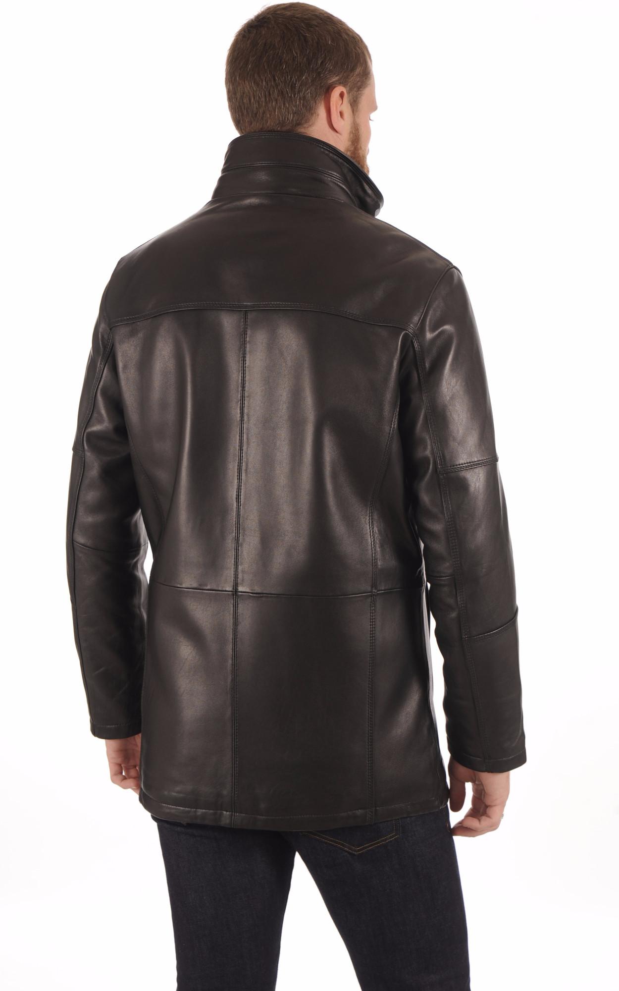 Veste Confortable Cuir Noir