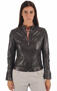 Blouson Cuir Style Motard Femme Noir