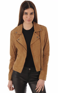 Blouson City Girl Cuir Velours Camel