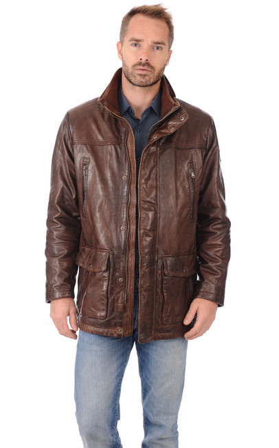 Veste en cuir marbr itallo la canadienne veste 3 4 cuir caf - Laver une veste en cuir ...