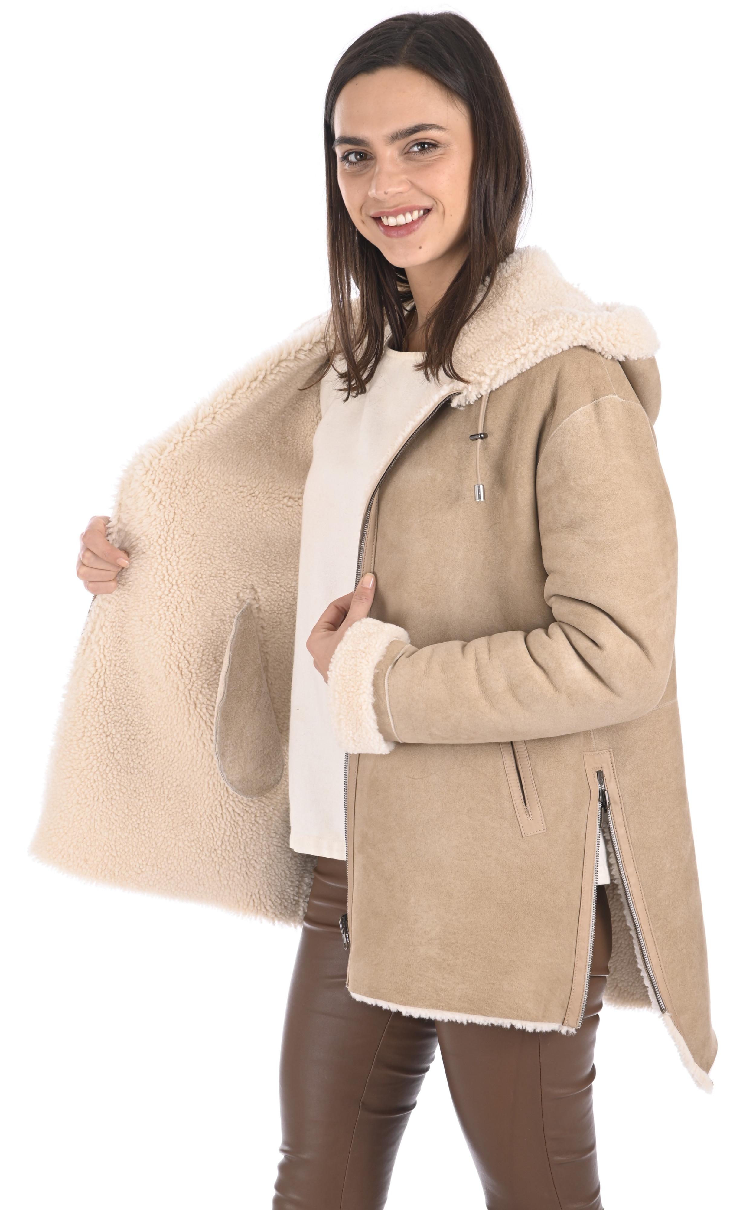 Manteau peau lainée Eden velours Anne Delaigle