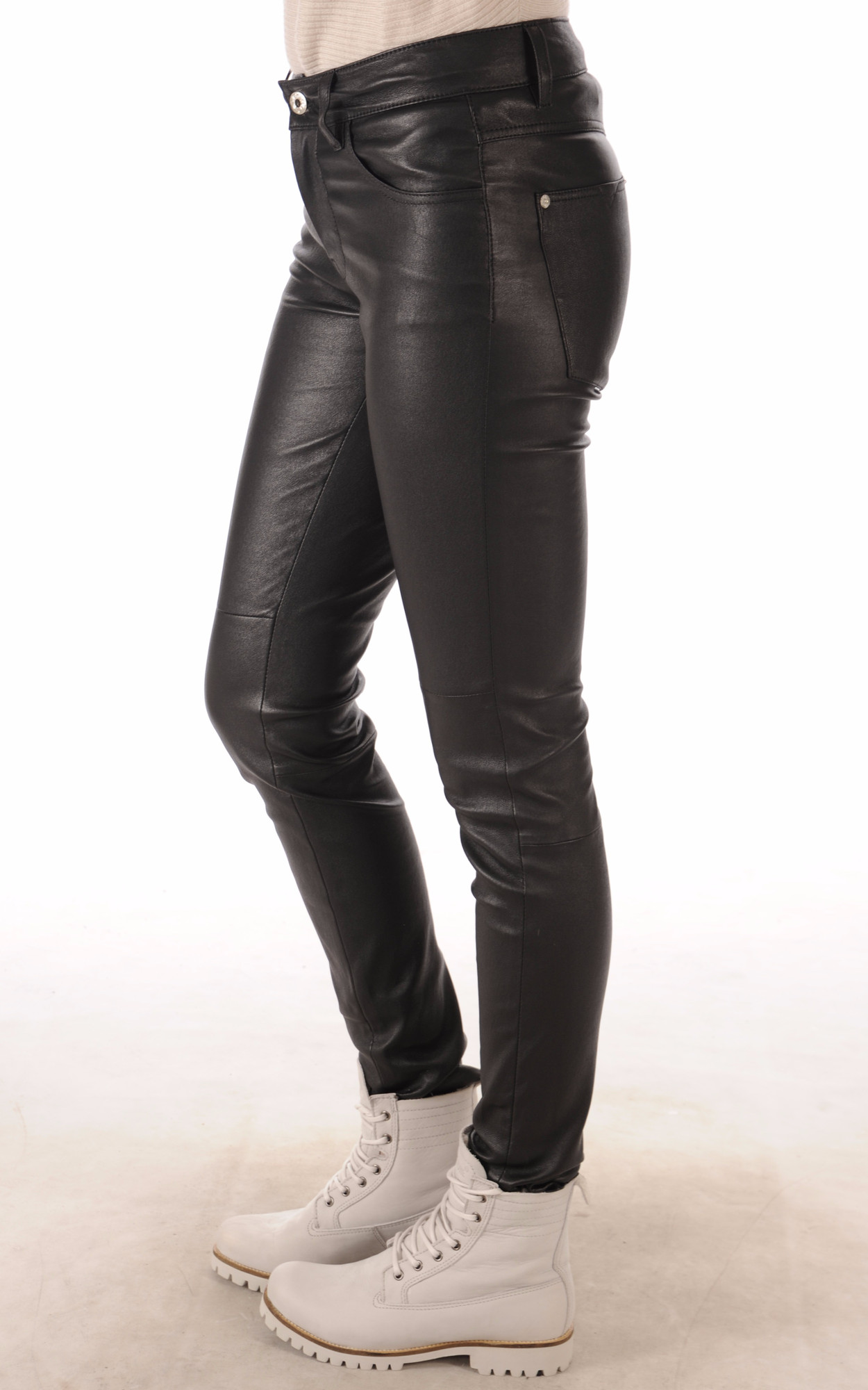 Pantalon Slim Cuir Stretch Noir