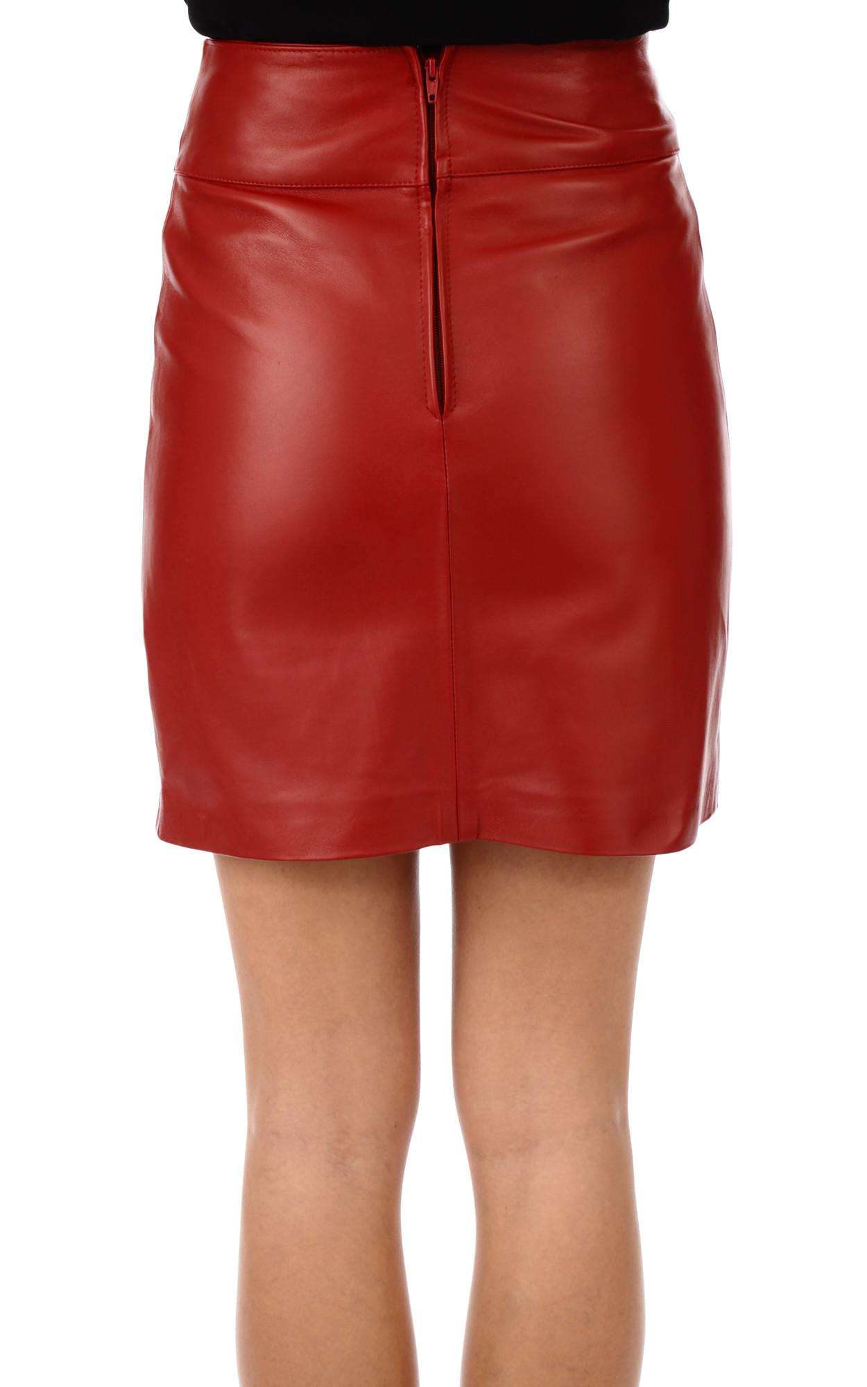 Mini Jupe Cuir Agneau Rouge