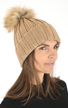 Bonnet en laine camel