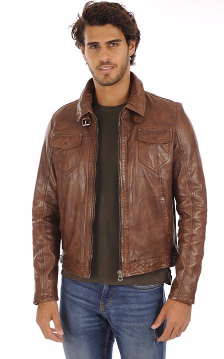 a9359bc7e Blouson et veste cuir homme Schott Redskins Serge Pariente Oakwood ...