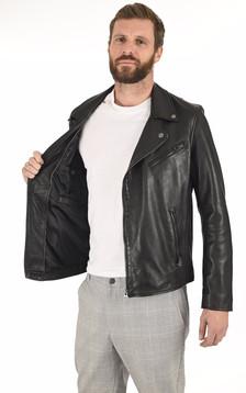 Blouson en cuir homme noir