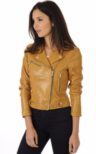 Blouson Cuir Coupe Perf Jaune Moutarde1