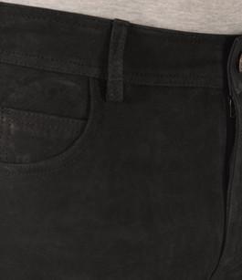 Pantalon Cuir de Buffle Nubuck Noir Homme Maddox