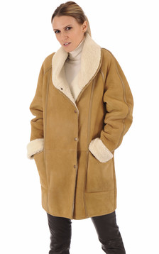 Veste agneau camel esprit vintage1