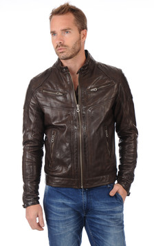 Blouson Motard Ronald Marron1