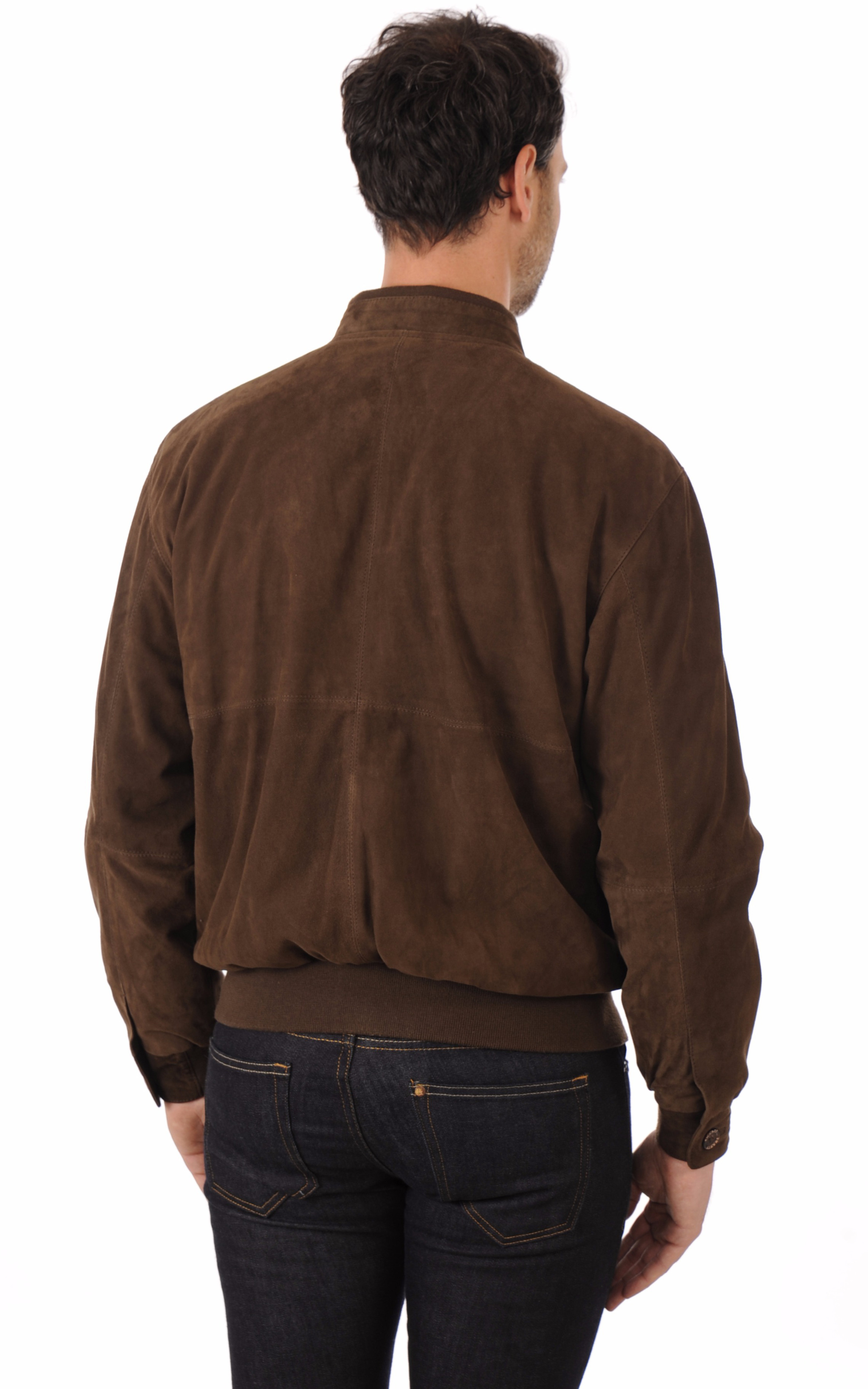 Blouson Cuir Velours Marron Smarty