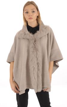 Poncho en laine taupe bordé de fourrure1