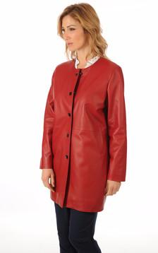 Veste Confortable Cuir Rouge Femme1