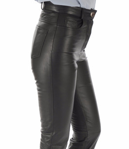 Pantalon Cuir Noir Coupe Droite La Canadienne