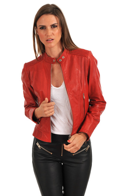 veste cuir femme diesel la canadienne blouson cuir rouge. Black Bedroom Furniture Sets. Home Design Ideas