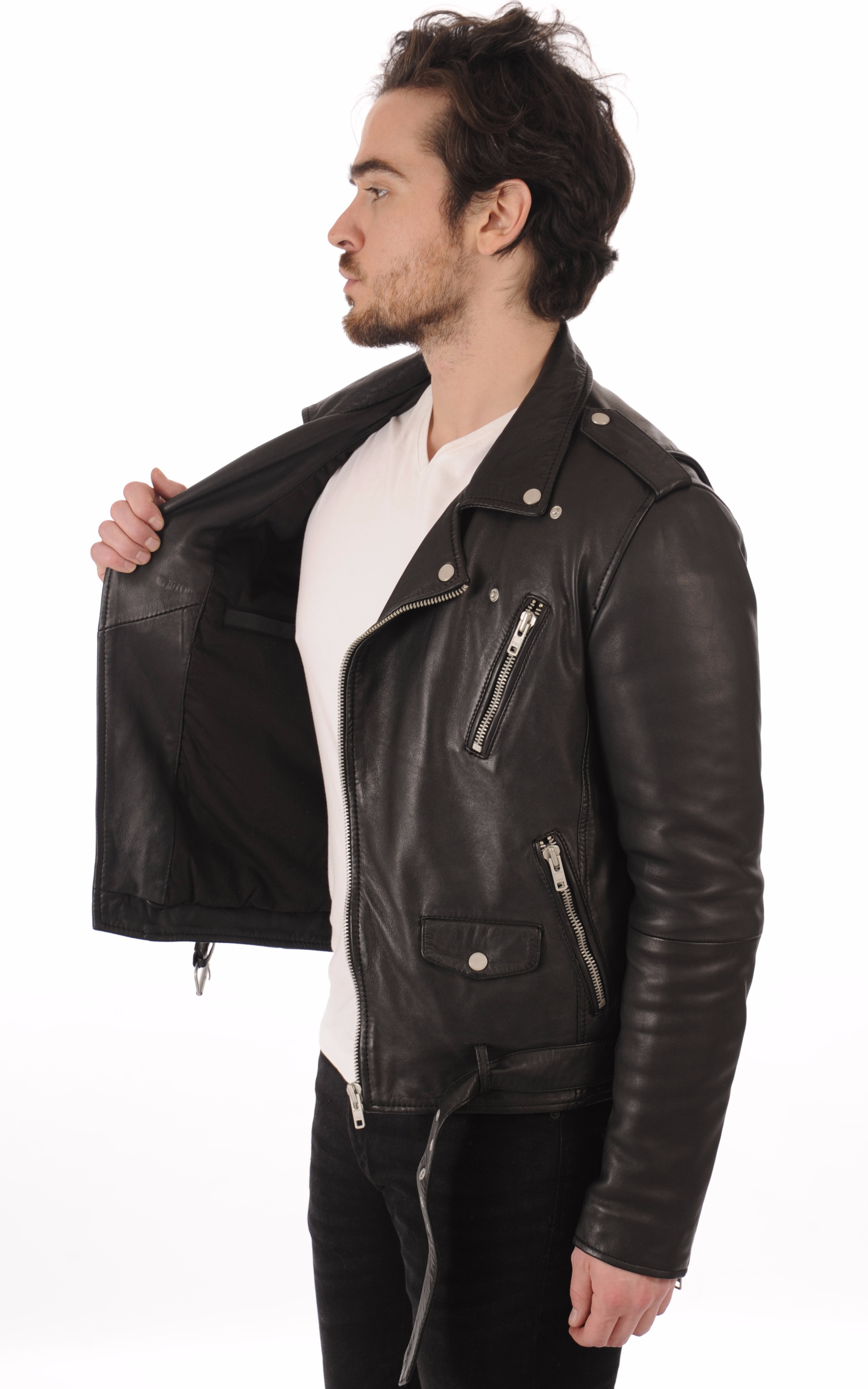 Blouson en cuir Rocker noir Serge Pariente