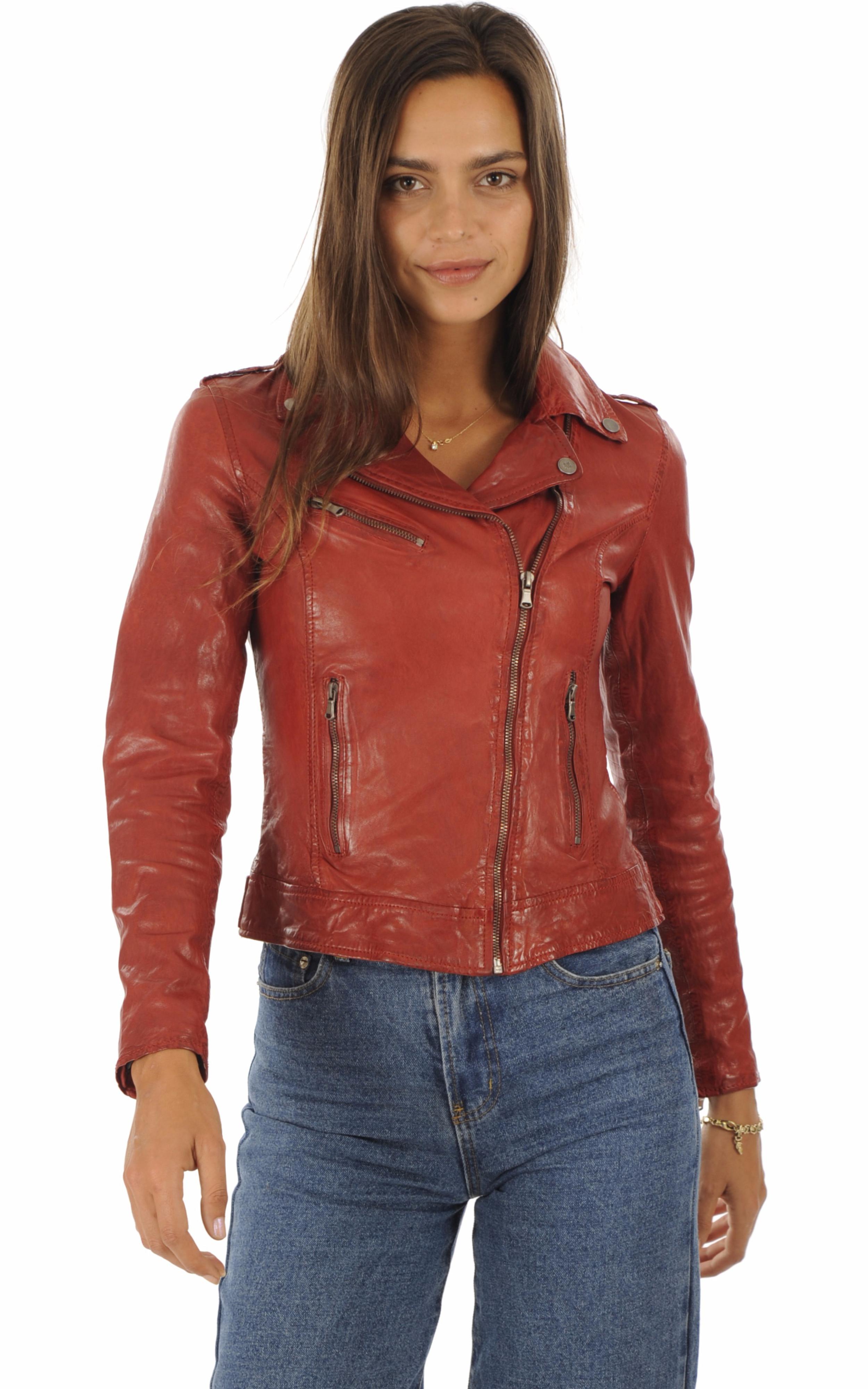 Blouson cuir rouge femme La Canadienne