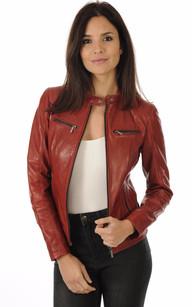 Veste simili cuir femme noir et rouge