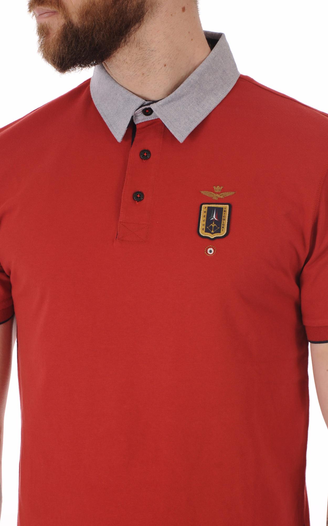 Polo Rouge Col Contrasté Gris