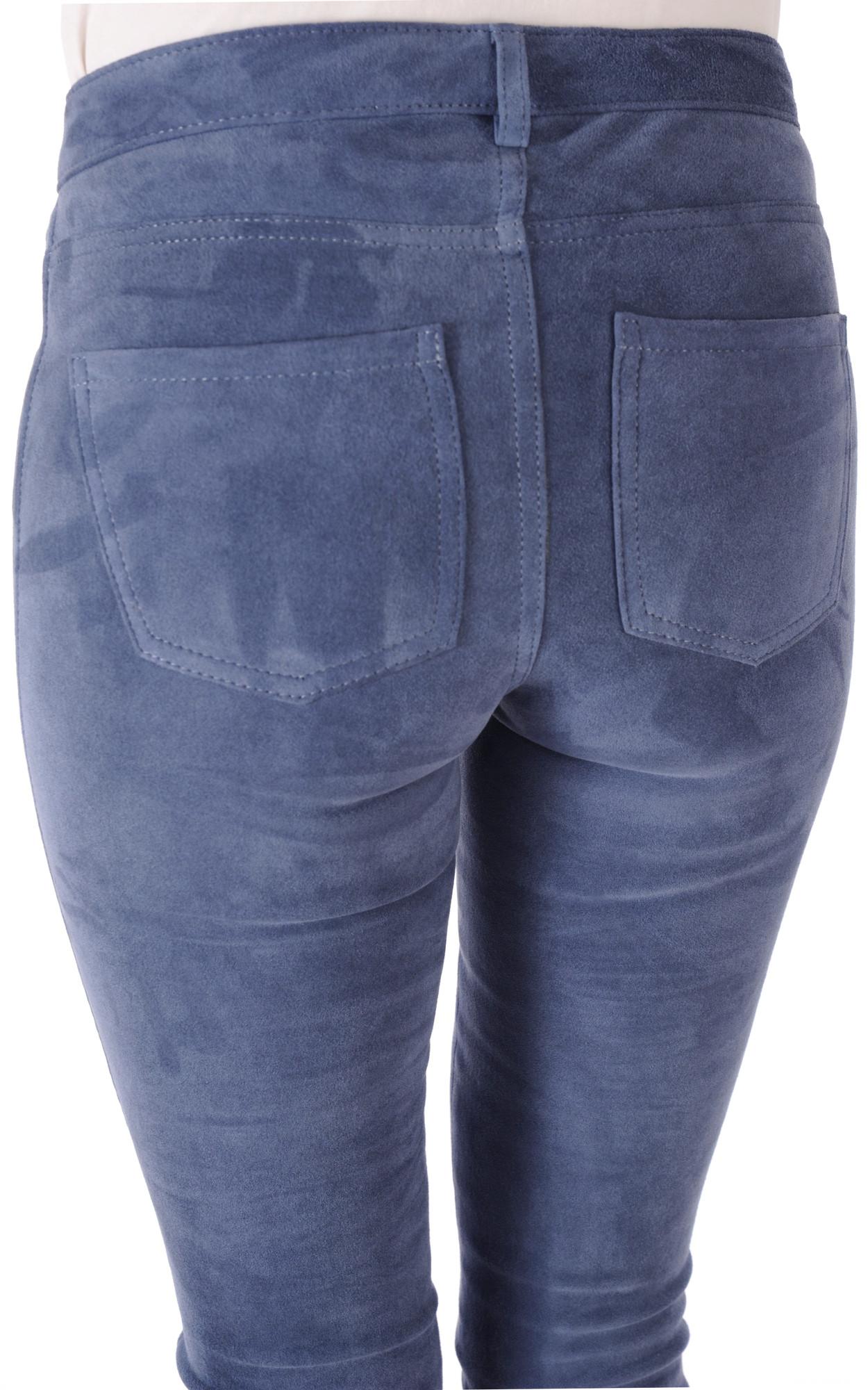 Pantalon Slim Aspect Daim Bleu