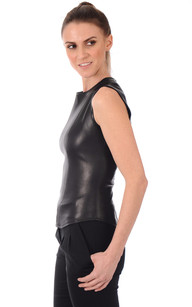 Top Sans Manches Cuir Stretch