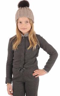 Bonnet laine et fourrure marron