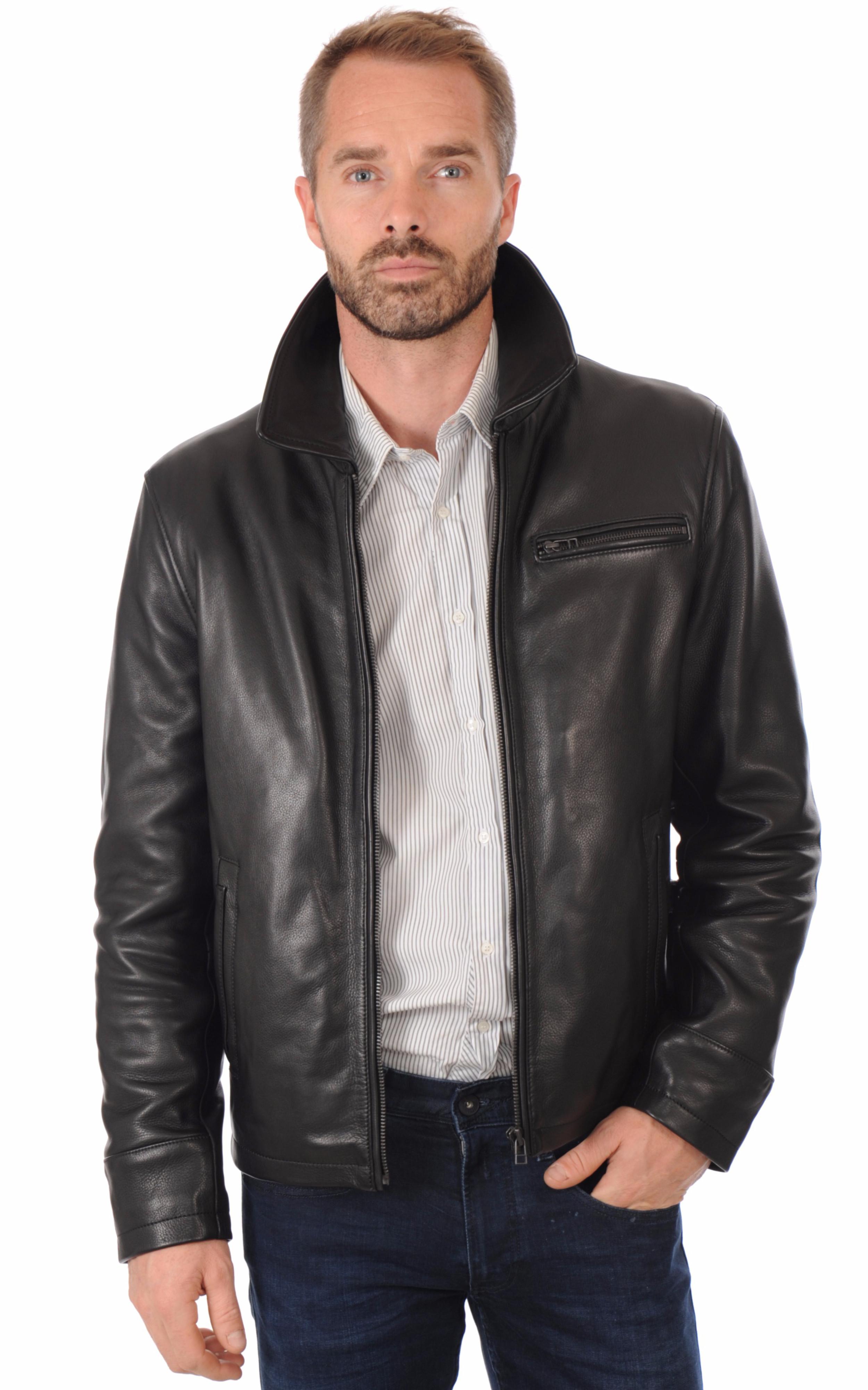 Veste Chaude Cuir Noir Homme La Canadienne