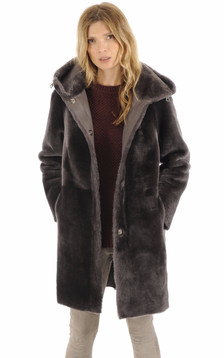 Manteau réversible mouton gris