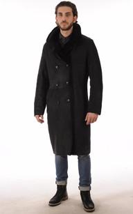 Manteau Peau Lainée Noir pour Homme1