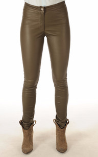 Pantalon Cuir Stretch Kaki1