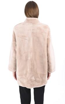 Veste peau lainée beige
