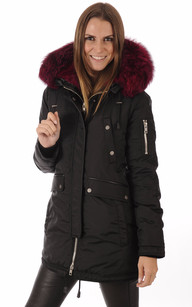 Parka Melrose Black Hot-Pink1