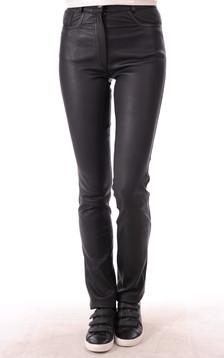 Pantalon Cuir Strecht Noir Coupe Droite1
