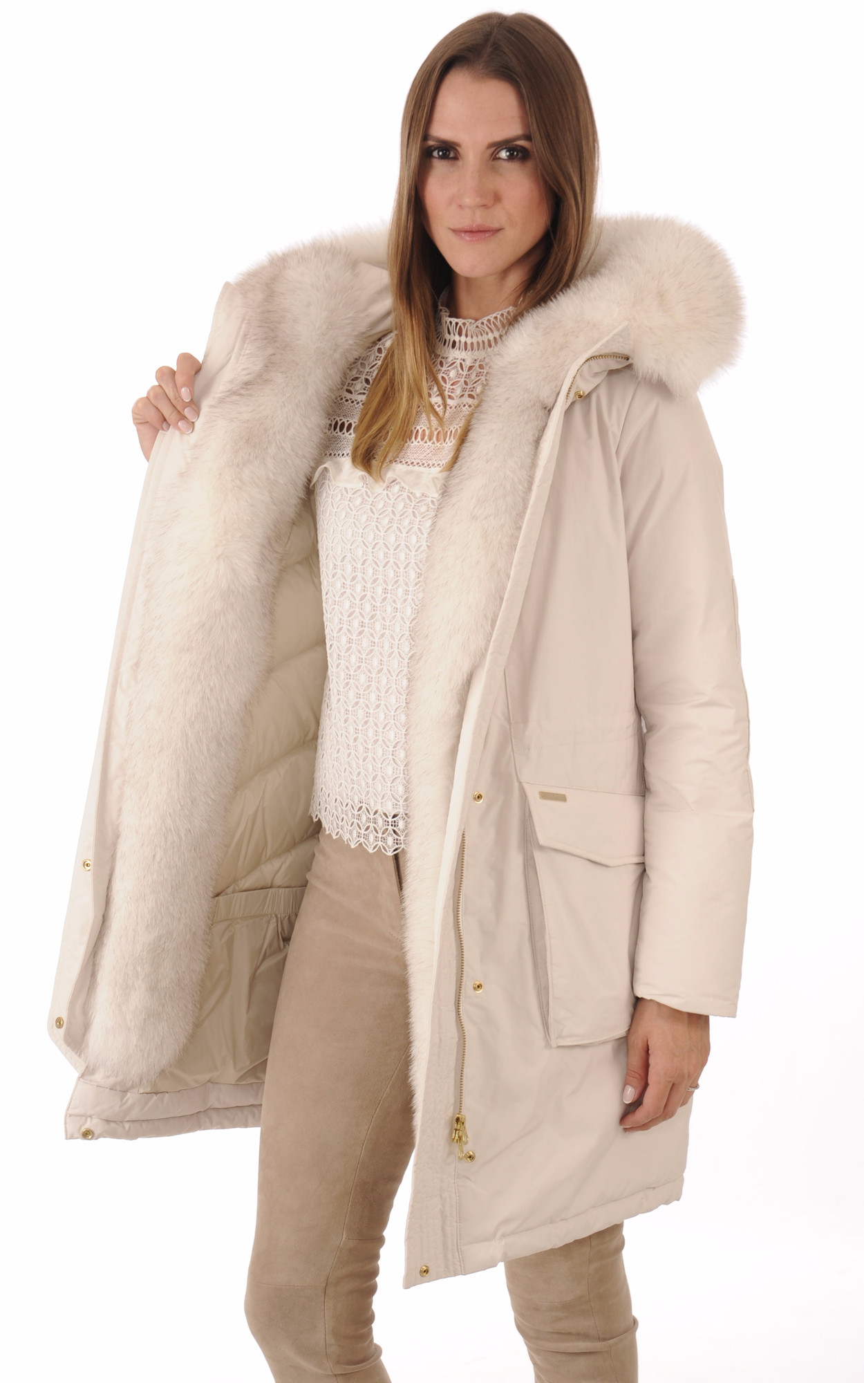 Parka W'S Military New Fur Blanc Cassé