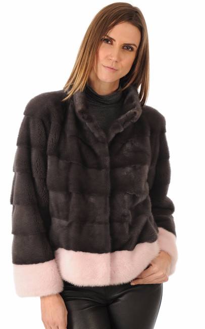 Veste Vison Anthracite & Rose La Canadienne