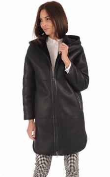 Manteau réversible mérinos noir