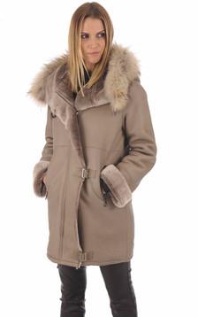 Manteau peau lainée Xenia taupe1