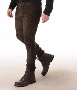 Pantalon Cuir Agneau Velours Stretch Marron La Canadienne