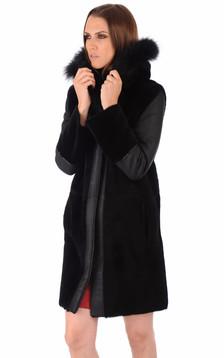 Manteau Peau Lainée bordé Fourrure1