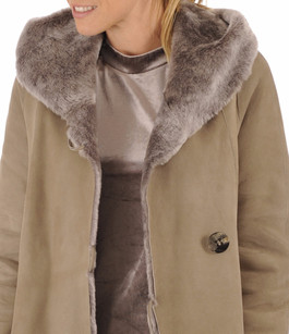 Veste longue peau lainée taupe La Canadienne