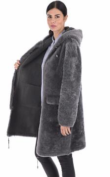 Manteau peau lainée réversible gris
